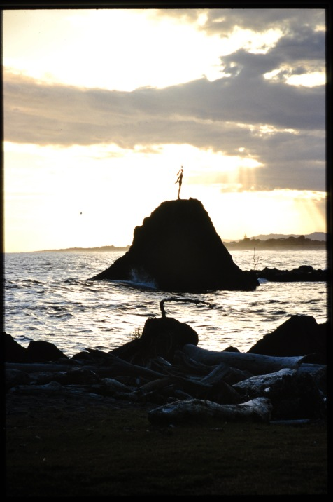Aan het strand ergens aan de oostkust van NZ